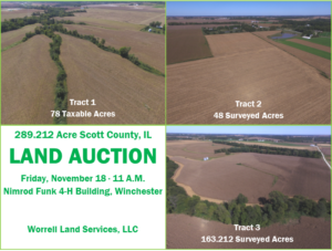 289.212 Acre Scott County, Illinois Land Auction ∙ 3 Tracts